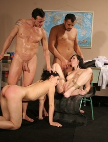 New house slaves in bdsm foursome